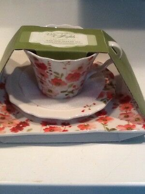 222 FIFTH BELICIA Red 3 Piece Teacup Lunch/ Dessert Set - $22.00 ...