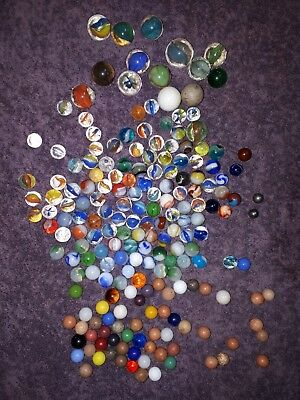 Lot Of 180 Vintage Colorful Marbles, 15 Large, 2 Metal, from various makers