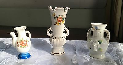 THREE OCCUPIED JAPAN Mini-Vases Teapot-look, Double Arm, Applied Flower