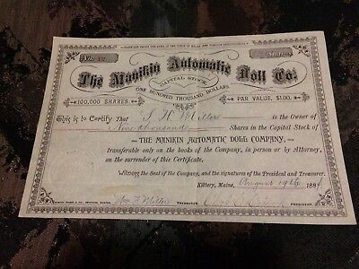 1884 the manikin automatic doll co. Stock certificate