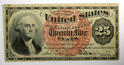 Fr # 1302 25 Cents Fourth Issue Fractional - Washington - Vf - Priced Right!