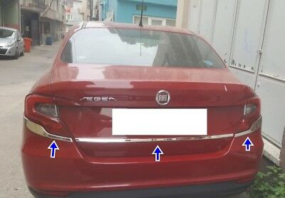 2015Up Fiat Tipo Saloon Chrome Rear Lamp Sill Cover 3Pcs Stainless Steel