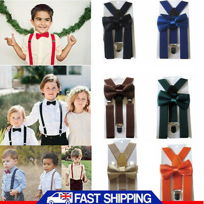 Matching Braces Suspenders and Luxury Bow Tie Set Kids Children Boys Wedding UK