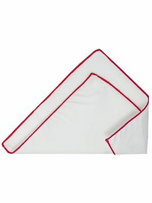 Men's White With Color Piping 100% Cotton Handkerchief Pocket Square