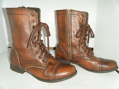 158454d2463 STEVE MADDEN TROOPA Womens Combat Boots Leather Distressed Sz 7.5 M
