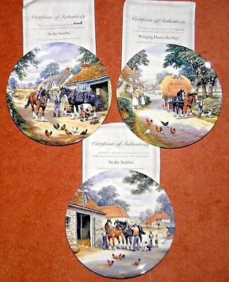 Royal Doulton Plates, At the Stables, At the Smithy, the Village Shires,