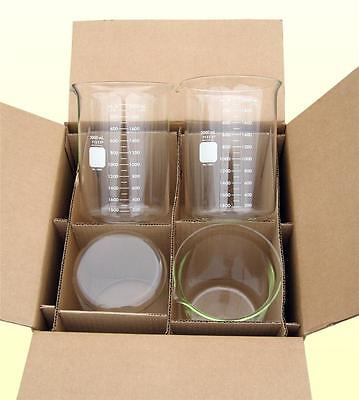 Pyrex Beaker, 2000mL (2L), Case of 4, Corning Inc. Free Shipping, Lower 48 State