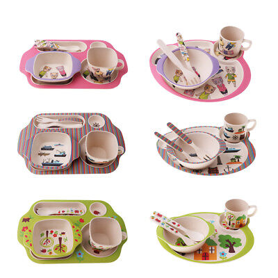 Prettyia Kids Dinnerware Baby Feeding Plate Set Bowl Cup Spoon Fork 5pcs/sets
