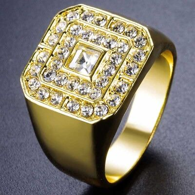 02f6205cdc21a3 Mens 18k Gold Plated Iced Out Hip Hop Style 5 Square Ring CZ Crystal Bling  Pinky