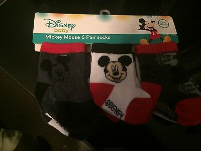Baby Mickey mouse socks 0-6 month Fit shoe 1-2 Brand New