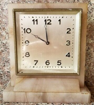 Antique Alabaster Clock Made in Germany works great genuine shelf mantel clock