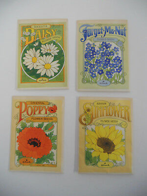 Lot 4 Vintage 1976 Hallmark Flower Seed Packets Litho Advertising Garden Jar