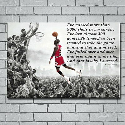 144529 Why I Succeed Michael Jordan Dunk Motivational Wall Print Poster AU