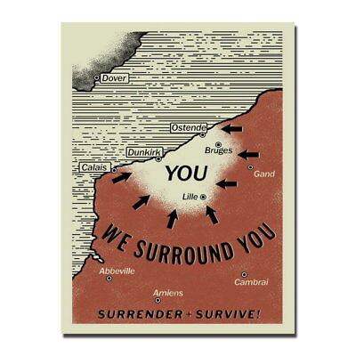 145562 Hot Dunkirk Map Film Wall Print Poster AU