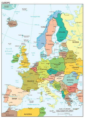 146089 Map of Europe Wall Print Poster AU