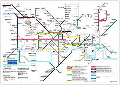 146098 Detailed London Underground Tube Map Wall Print Poster AU