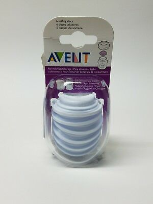 6 Pack Philips AVENT BPA Free Bottle Sealing Discs Freezing Breast Milk New (A)
