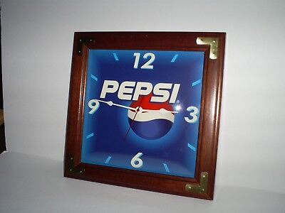 Vintage Pepsi Clock With A Beautiful Wood Frame  Quartz Nice !