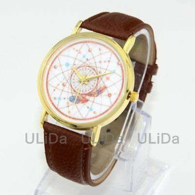 New Casual Golden Dial PU Leather Women Lady Quartz Dress Wrist Watches Gift