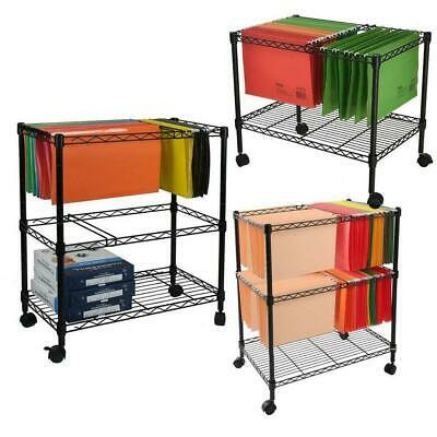 Sturdy 1/2-Tier Metal Rolling File Cart for Letter Size and Legal Size Folder