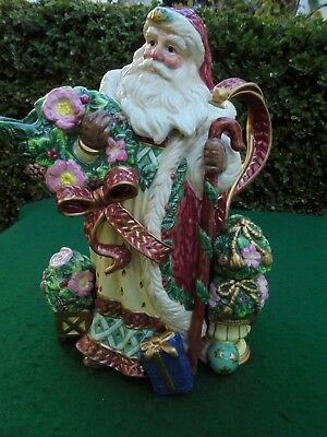 Large Fitz And Floyd Santa Jug Like New Original Box Father Christmas