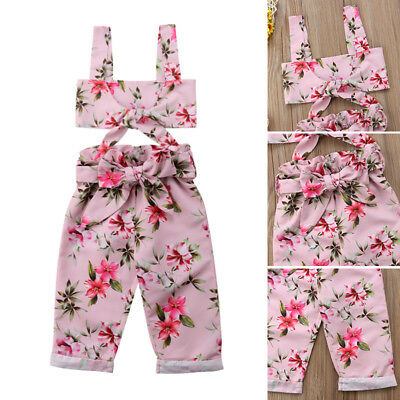 USA Summer Toddler Kids Baby Girl Floral Crop Top Vest+Bowknot Long Pants Outfit