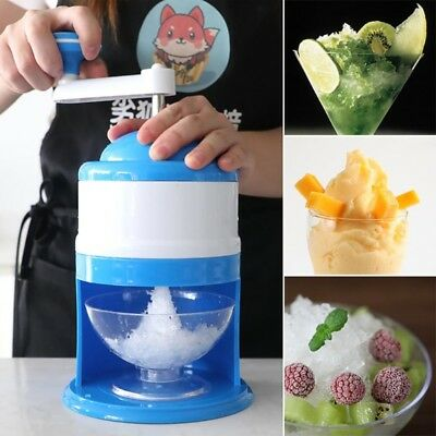 Portable Hand Crank Manual Ice Shaver Crusher Shredding Snow Cone Maker Machine