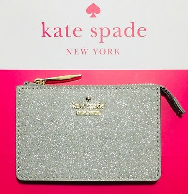 NWT Kate Spade New York Burgess Court Magda Card Coin Wallet In Silver