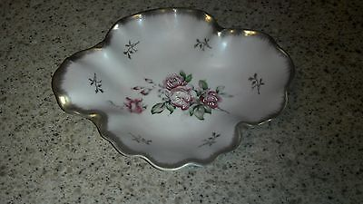 Vintage Lefton China Hand Painted Pink Floral Candy Trinket Dish EUC