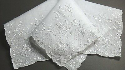 Antique Madeira Elaborate Hand Embroidery Linen Wedding Hanky - AS IS, Ink Marks