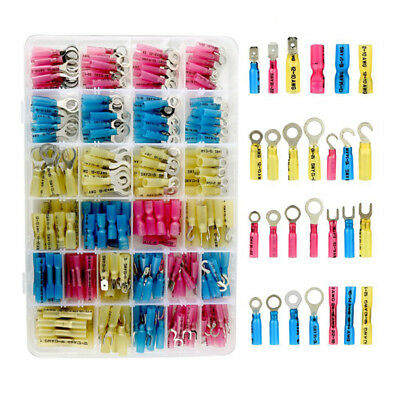 270 PCS Heat Shrink Wire Connector Kit Electrical Insulated Crimp Ring Butt O1A5