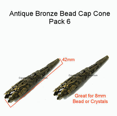 Filigree Bead Cap Cone Antique Bronze 42mm 6 Pce - Jewellery Findings BCC1