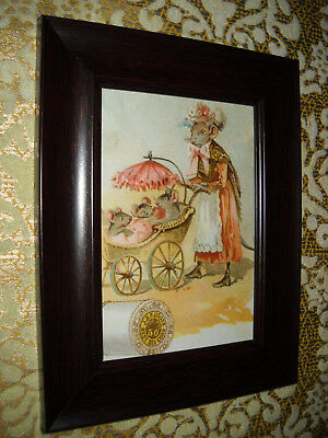 MOTHER MOUSE PUSHES MICE 3 X 5 brown framed animal print Victorian style picture