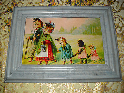 CAT FAMILY ON A WALK 4 X 6 light blue framed picture Victorian style art print