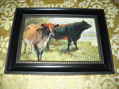 COWS LINGER IN FIELD 4 X 6 black framed cow picture Victorian style animal print