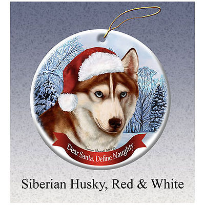 Siberian Husky Red Howliday Porcelain China Dog Christmas Ornament