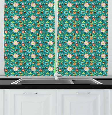 """Bee Kitchen Curtains 2 Panel Set Window Drapes 55"""" X 39"""" Ambesonne"""