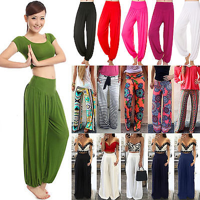 Womens Harem Long Pants Hippie Wide Leg Yoga Dance Boho Loose Palazzo Trousers