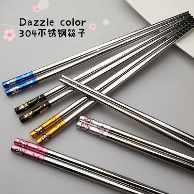 One Pair Stainless Steel 304 Chopsticks Chinese Reusable Flatware New Arrival