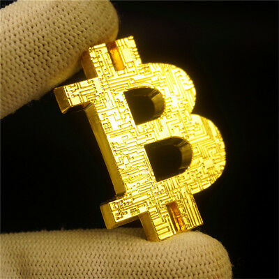BITCOIN Hollow B Gold Coin Commemorative Collectors Bit Coin is Gold Plated