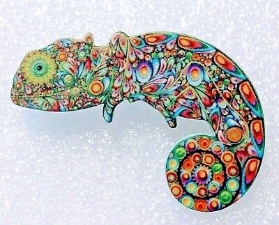Chameleon Lizard Large Artistic Multicolor  Acrylic Pin Brooch Jewelry