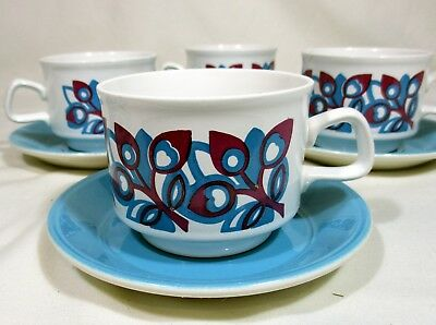 5 Vintage Staffordshire Potteries Ltd. Ironstone Retro Cup And Saucers + 1 Cup