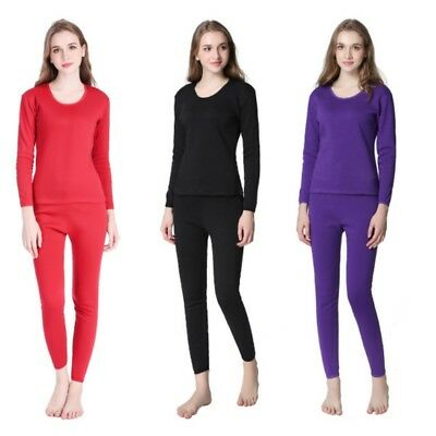 2PC Women Winter Warm Underwear Thicken Thermal Tops+Long Johns Pants Pajama Set