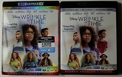 Disney A Wrinkle In Time 4K Ultra Hd Blu Ray 2 Disc Set + Slipcover Sleeve