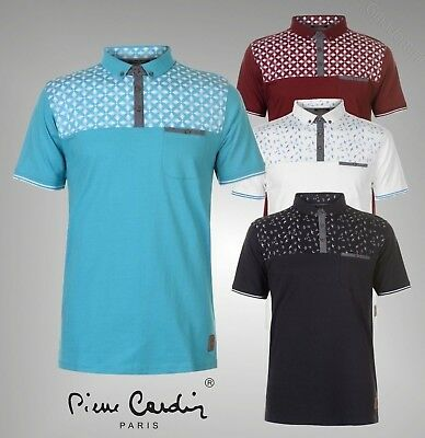 Mens Branded Pierre Cardin Stylish AOP Chest Print Polo Shirt Size S M L XL XXL