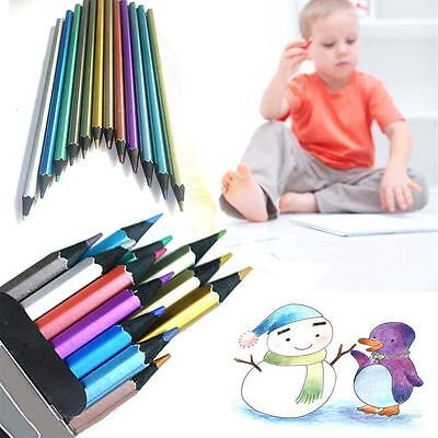 SPECIAL 12 Colours Metallic Non-toxic Drawing Pencils For Kid Adult Colouring V
