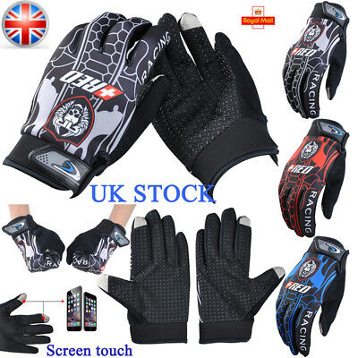 UK Mens Touch Screen Full Finger Gloves Bike Riding Cycling Motorcycle Mittens