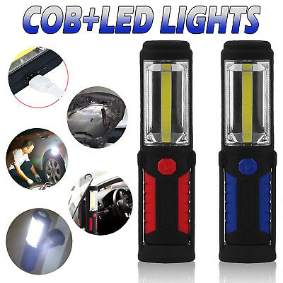 COB LED Work Light Rechargeable Hand Torch Lamp Cordless Flashlight With Hook