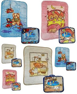Baby Babies Kids Fleece Acrylic Mink Pushchairs Cots Cribs Blankets Throws Soft