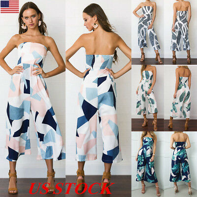 US Womens Holiday Floral Strapless Summer Beach Long Wide Leg Jumpsuit Dress New